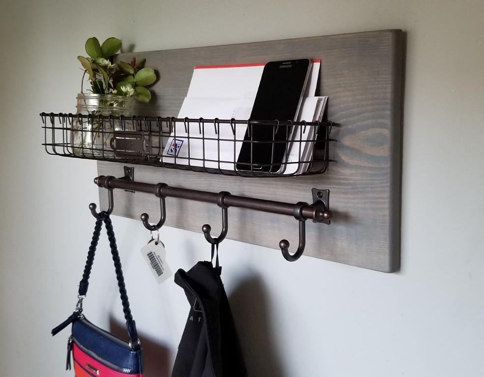 Junis Metal Basket Wall Organizer with Hooks Weathered Gray