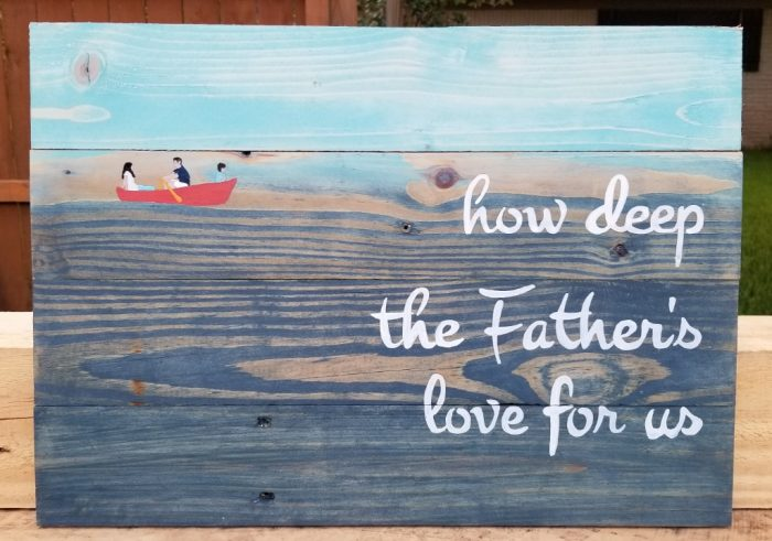 How Deep the Fathers Love For us sign