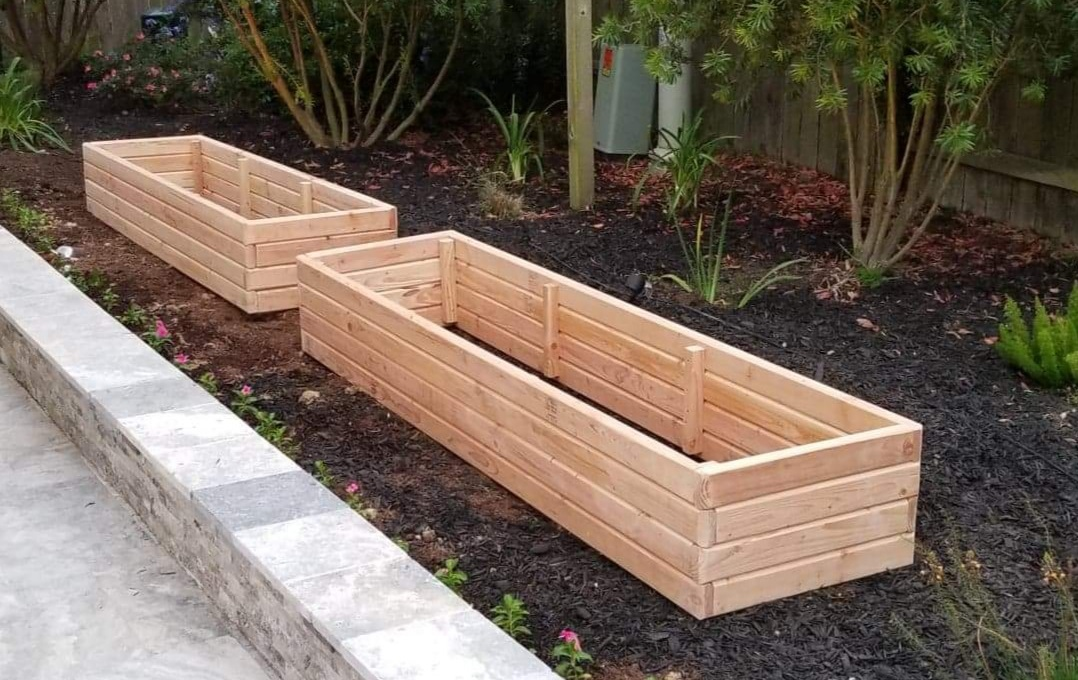Douglas fir raised garden beds